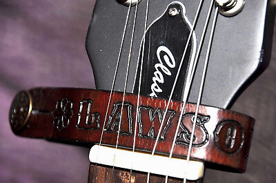 Personalised Name Leather Acoustic/Electric Guitar Headstock Strap Custom Made