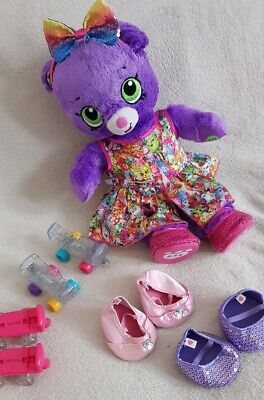 Shopkins Purple Super Plush Build A Bear Teddy Soft Toy Pink Boots 16""