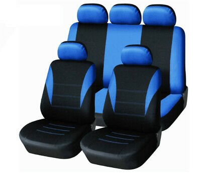 Blue 9Pcs Car Seat Cover Breathable Seat Cushion Protector Interior Accessories