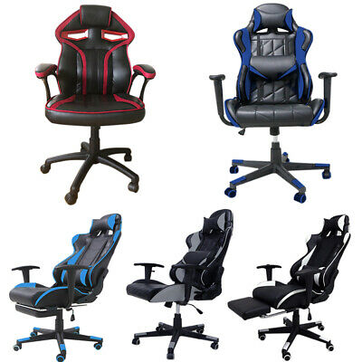 Computer Chair Gaming Racing Sports Faux Leather Swivel Reclining Office Chairs