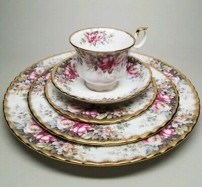Royal Albert AUTUMN ROSES 5 Piece Place Setting English Bone China Teacup Plates