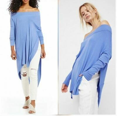 We The People Womens Size S Blue Grapevine Tunic Stretch Knit Hi-Lo Off-Shoulder