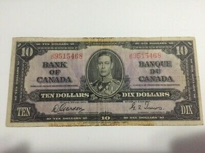 1937 Bank of Canada 10 Dollar Note - SHIPS FREE