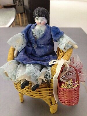 "7"" German Low Brow  China head doll in nice old dress with wicker chair REDUCED!"