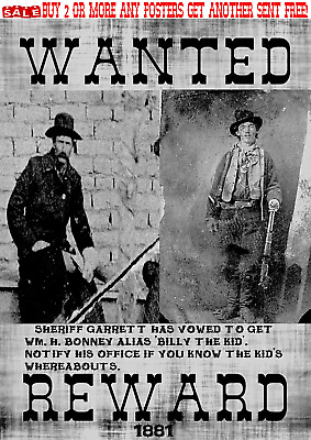 Old West Wanted Poster Reward Outlaw Billy The Kid Western Garrett Lincoln