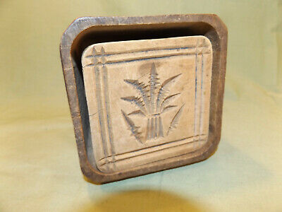 Unusual Antique SQUARE BUTTER MOLD with Wheat Pattern Primitive Kitchen Collect