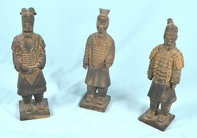 "3 Terracotta Style Warrior Statues From China 10"" Tall"