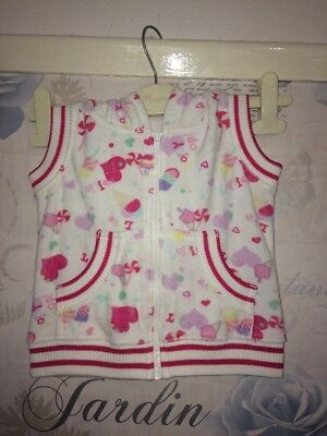 Next Baby Girls Long Hooded White Top Age 12-18m Pink Hearts Really Cute