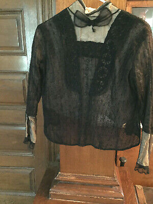 Vintage victorian bodice, black lace over beige silk