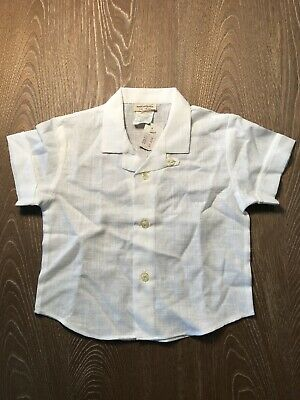 Petit Bateau 1 yr New Old Stock Baby Boy Button Shirt Light Traditional France
