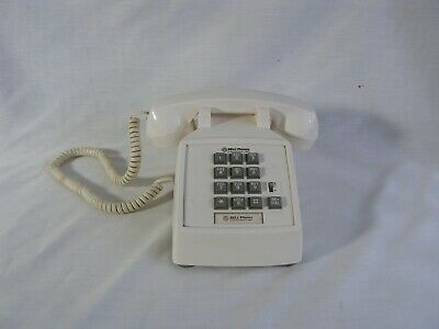 Vintage Touch Tone TELEPHONE Push Button Desk Phone Western Electric BELL White