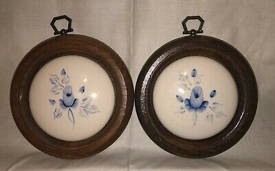Vtg. Round Framed Hand Painted Roses on Ceramic - Lasting Products Inc. Set of 2
