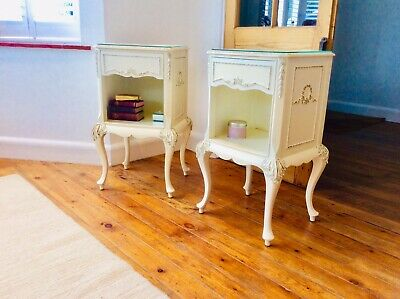 Pair of Vintage Olympus French Chic Style Bedside Tables Cabinets Secret Drawer