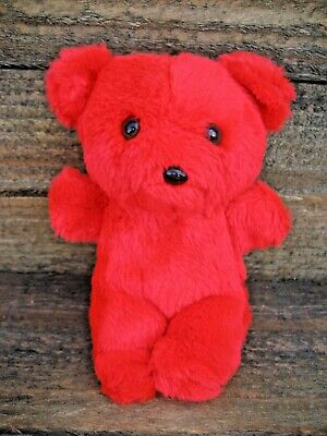 """Little Red Teddy Bear 7""""T Vintage 80s So Cute Needs A Loving Home"""