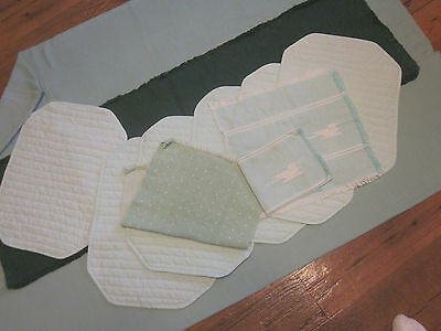 Bundle of 11 Three Shades of Green Table Cloth Place Mats Runner Duck Napkins