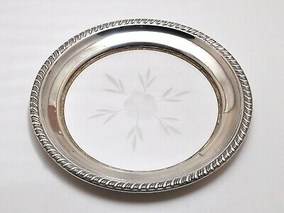 Vintage Sterling Silver & Crystal Dish/Wine Bottle Coaster, 5 1/2""