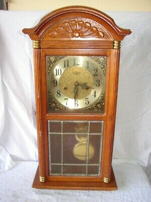 Large Vintage Wall Hanging Clock Wood Case Parts Repair Restore D & A Working