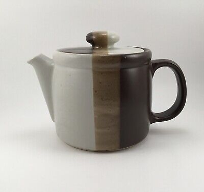 Vintage McCoy Teapot with Lid #1418 Striped Tricolored Pottery Stoneware USA