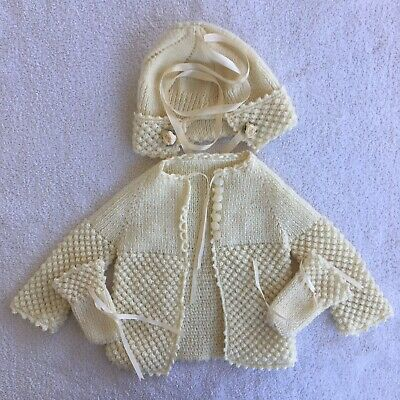 Vintage Knit Baby Sweater Hat Mittens Cream Unsized