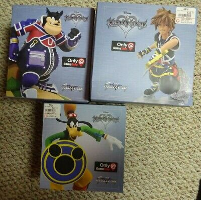 Lot of 3 Kingdom Hearts Gallery Sora, Goofy & Pete Figures GameStop Exclusive