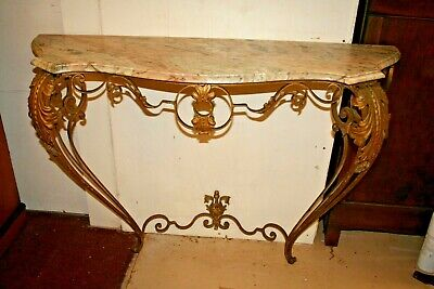 Antique French Rococo Bronze Console with Marble Top  Bombe Legs w Scroll Feet