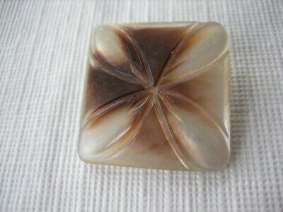 """Vintage Large 1-7/16"""" Carved Square MOP Mother Of Pearl Shell Button - PD24"""