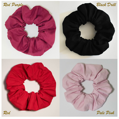 Handmade Solid Colour Scrunchie Hair Tie Ponytail Holder 100% Cotton Women Girls