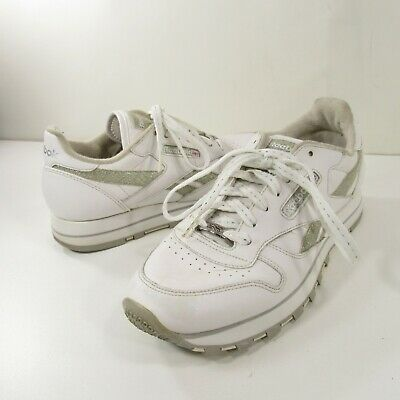 ac1eea401 REEBOK Vtg Classic Conquest White Silver Lace Up Running Walking Sneakers  Size 8