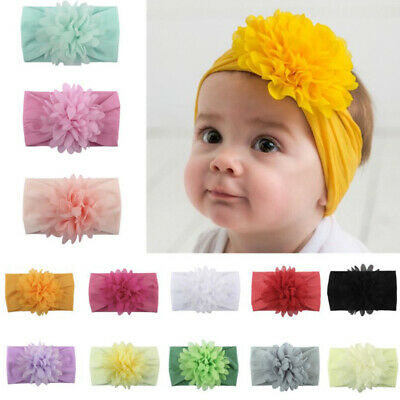 Kids Baby Sweet Flower Nylon Headband Knot Bow Headwraps Soft Elastic Hair Bands