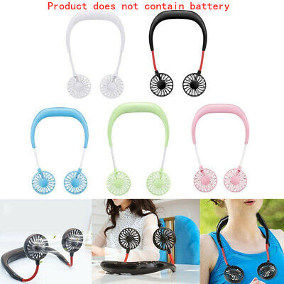 Rechargeable USB Sport Neckband Lazy Neck Hanging Dual Cooling Small Mini Fan