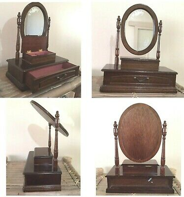 Original Antique Polished Jewelry Box With Rotating Mirror & Music