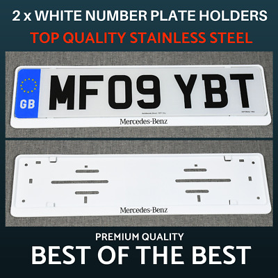 2 x Luxury White Stainless Steel Number Plate Holder Surround Frame for Mercedes