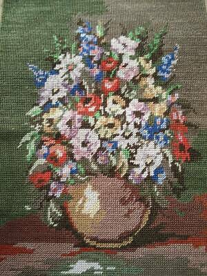 Wonderful Vase Flowers Completed Tapestry Vintage Hand made Panel - Ready to use