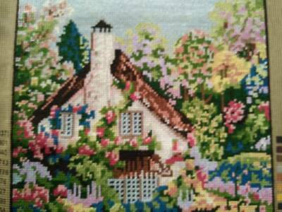 Gorgeous English House & Garden Completed Tapestry Vintage Hand Made Panel