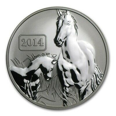 2014 Tokelau 1 oz Silver Year of the Horse Reverse Proof $5 Coin