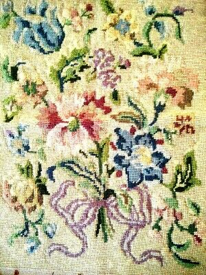Jacobean Flower Bouquet Completed Tapestry Vintage Hand Made Panel -Ready to use