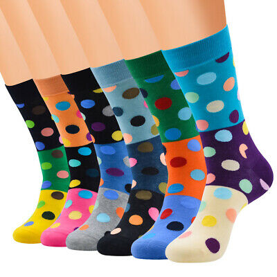 NEW Mens Cotton Socks Novelty Colorful Dots Fancy Casual Dress Socks For Wedding