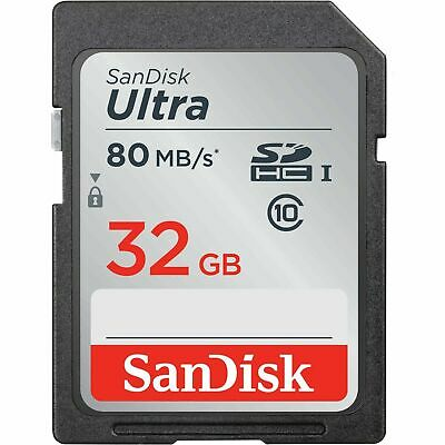 SanDisk SD Card 32GB SDHC Ultra 80MB/s Class 10 SDXC DSLR Camera Memory Card