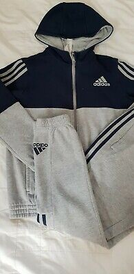 Boys navy blue grey adidas tracksuit jacket  bottoms age 11-12 years