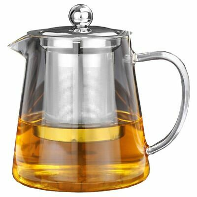 5X(5Sizes Good Clear Borosilicate Glass Teapot With 304 Stainless Steel Infu J5)