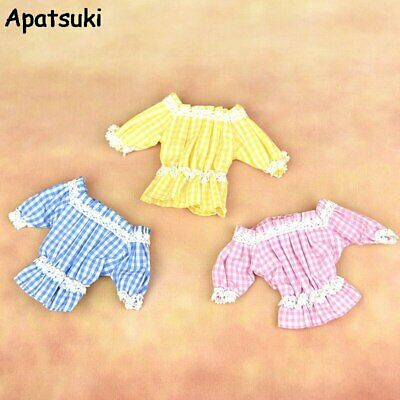 Off-shoulder Plaid Lace Clothes For Barbie Doll 1/6 Flounced Top Shirt Outfits