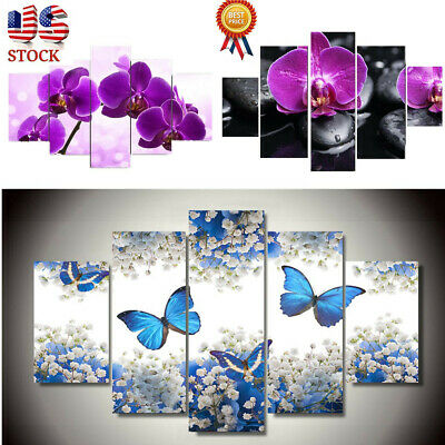 US Art Canvas Flowers Butterfly Modern Abstract Print Painting Home Wall Decor