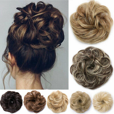 Real Thick Curly Messy Bun Hair Piece Scrunchie Natural Hair Extensions 45G UK W