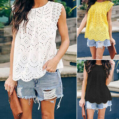 ZANZEA Women Sleeveless Top Tee T Shirt Club Party Crochet Lace Floral Blouse