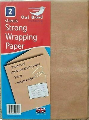2 Sheets Strong Brown Wrapping Kraft Paper With String Adhesive Label New