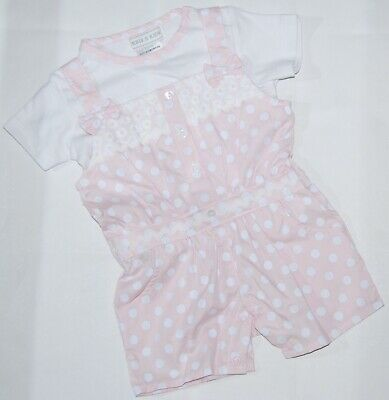 Baby Girls Spanish Style Pink Spot Bows Playsuit Romper & Top Cotton Set
