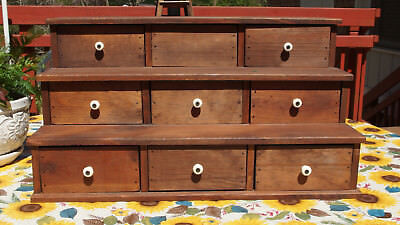 """PRIMITIVE Wooden Spice Box 23"""" long w/9 Drawers Handmade to look Antique PREOWN"""