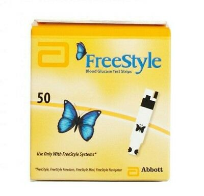 2x Abbott FreeStyle 50 Blood Glucose Test Strips with Butterfly