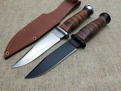 9.5'' New KA-BAR Leather Handle Blade 440C Survival Bowie Hunting Knife USN-MK1