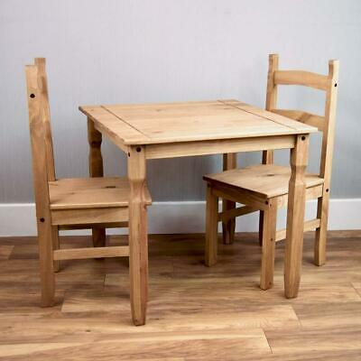 Small Natural Wooden Dining Table And 2 Chairs Set Kitchen Room Rustic Pine